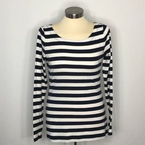 Banana Republic Navy and White Striped Top